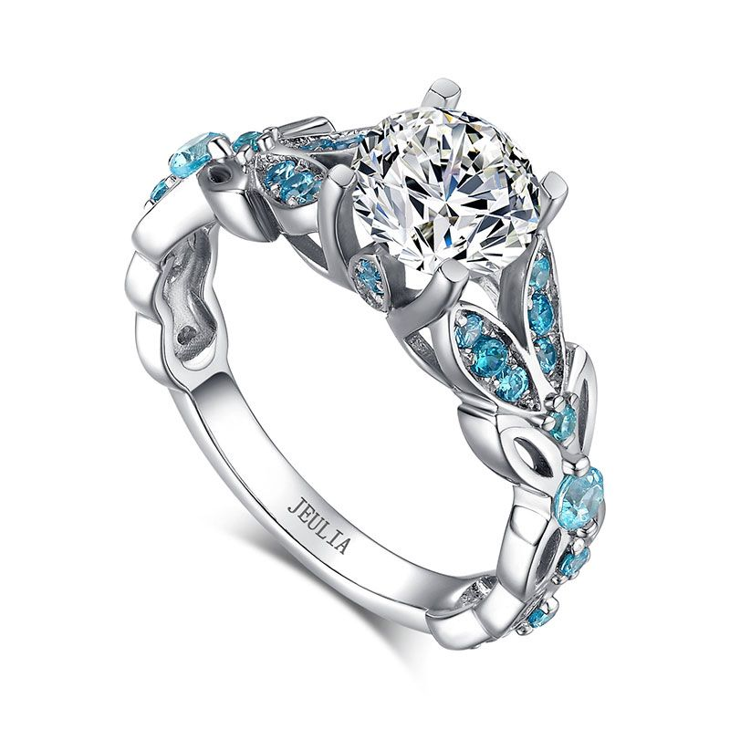 3721a12ec239a Butterfly Round Cut Sterling Silver Ring