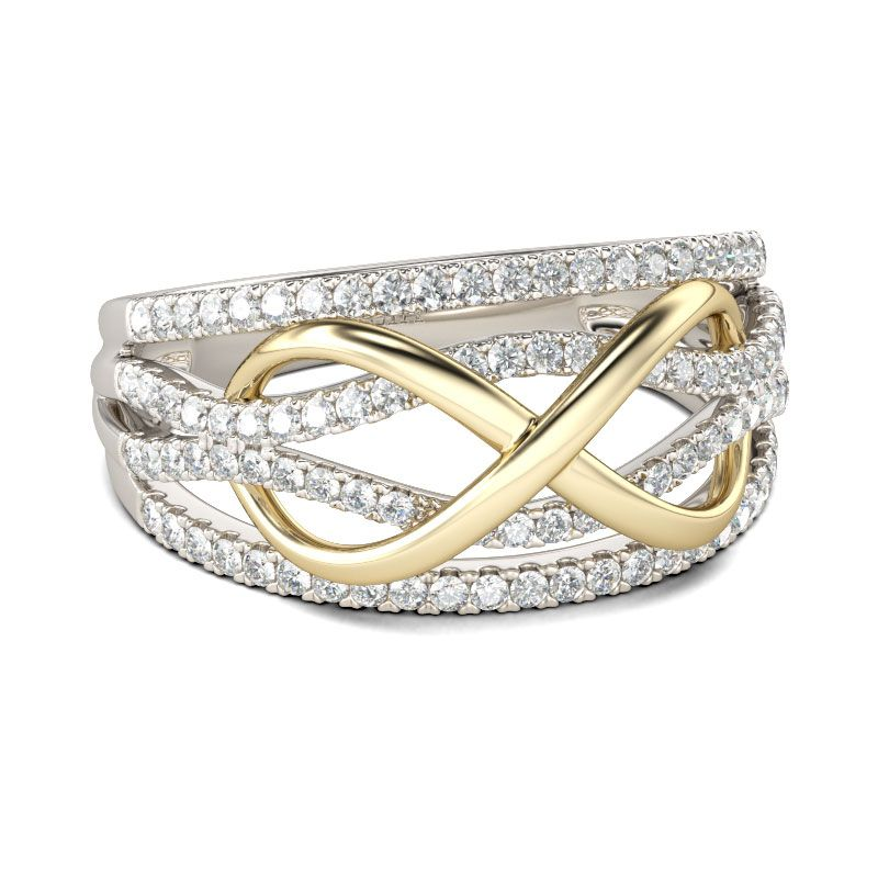 767317fa497 Two Tone Infinity Sterling Silver Women's Band
