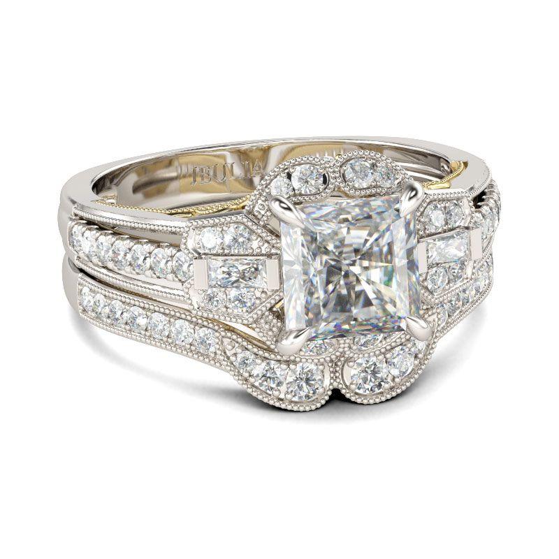 4f540b70b Vintage Milgrain Princess Cut Sterling Silver Ring Set - Jeulia Jewelry