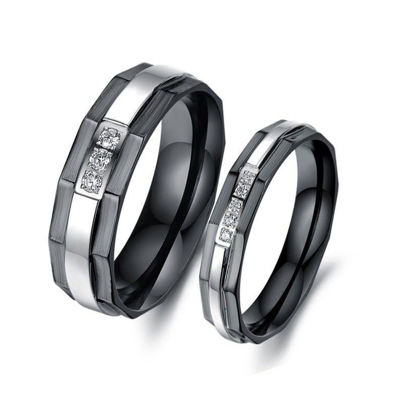 a6a32f0ba0 Black Plating Titanium Steel Couple Rings - Jeulia Jewelry