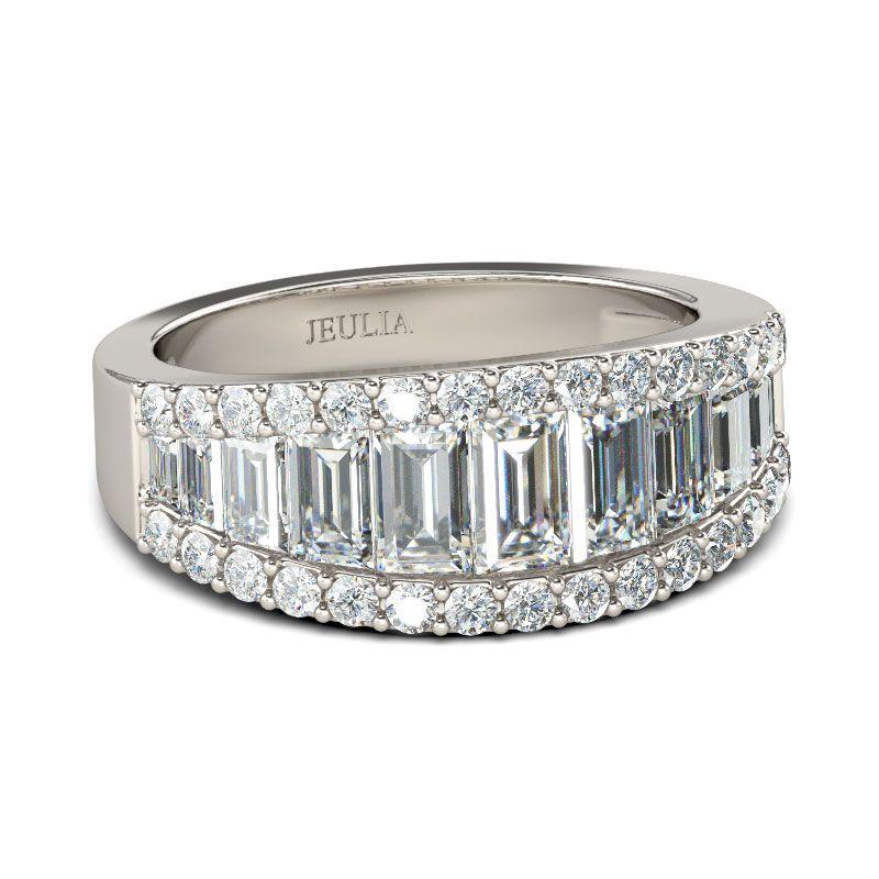 Emerald Cut Sterling Silver Women s Wedding Band - Jeulia Jewelry 47d6f78541