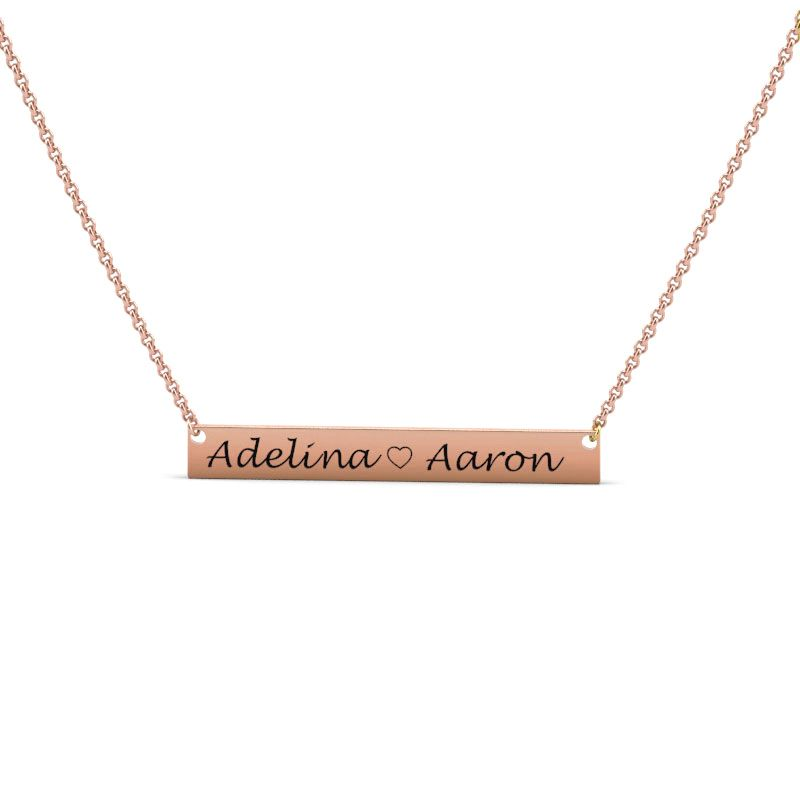 772e3369f2df3 Couple Engraved Name Bar Necklace Sterling Silver