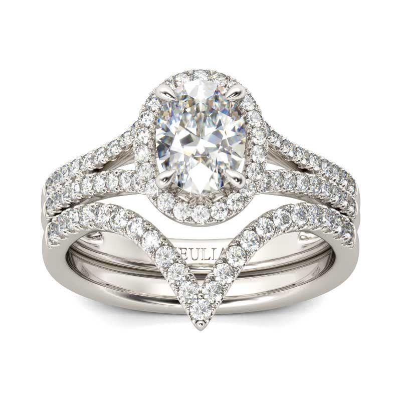 df62f8a2a7423a Split Shank Halo Oval Cut Sterling Silver Ring Set - Jeulia Jewelry