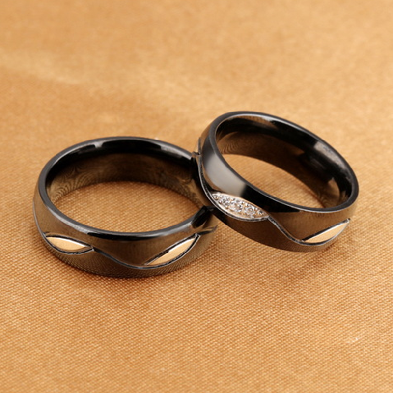 ddce7cb45d Black Titanium Steel Couple Rings; Black Titanium Steel Couple Rings ...