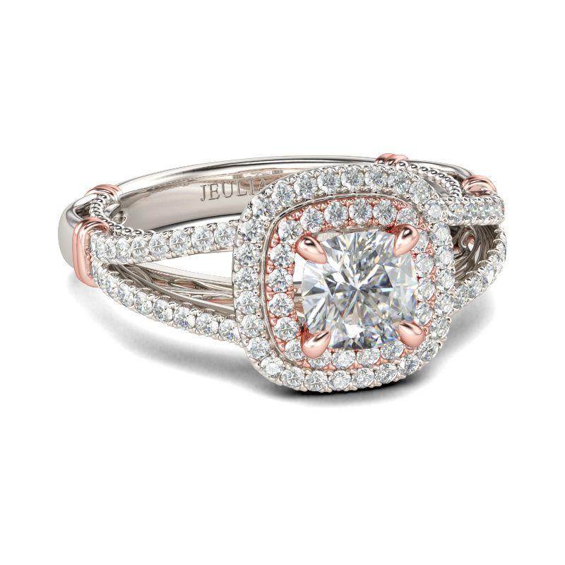 008c6070c0e997 Double Halo Cushion Cut Sterling Silver Ring - Jeulia Jewelry