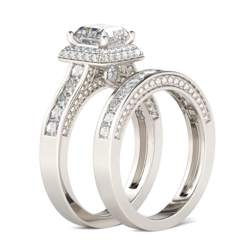Double Halo Princess Cut Sterling Silver Ring Set - Jeulia Jewelry