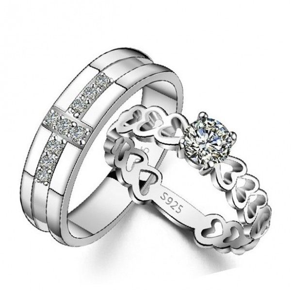 5721d45b4a Exquisite Round Cut Sterling Silver Couple Rings - Jeulia Jewelry