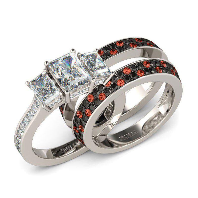 Three Stone Emerald Cut Sterling Silver Ring Set Jeulia Jewelry