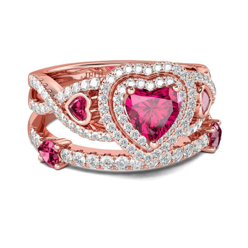 bdf802941f Rose Gold Tone Heart Cut Sterling Silver Ring Set - Jeulia Jewelry