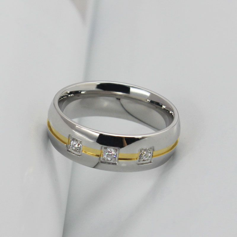 Two Tone Titanium Steel Mens band Jeulia Jewelry