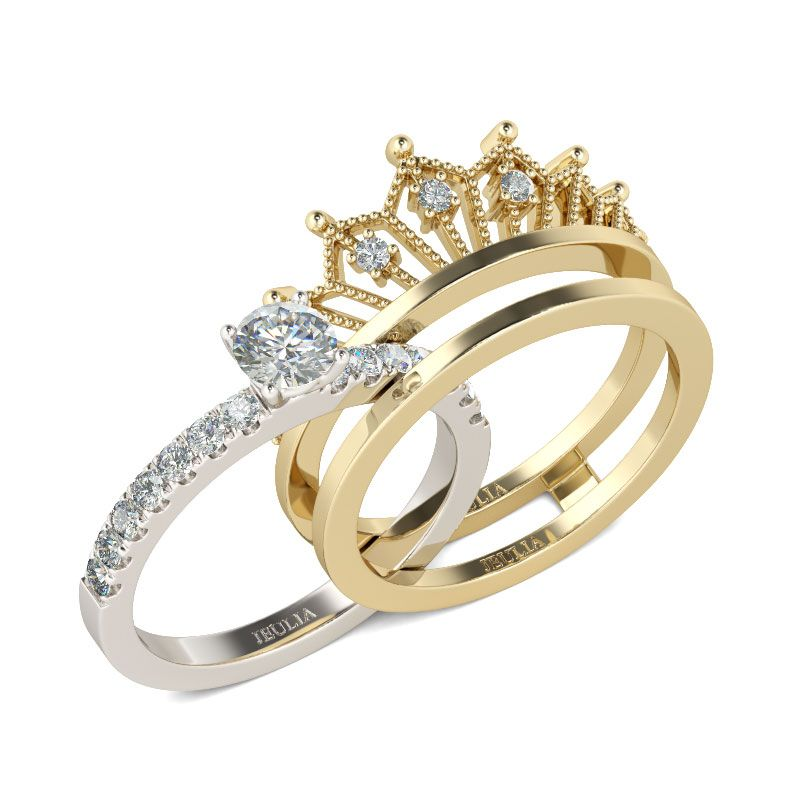 Two Tone Crown Round Cut Sterling Silver Ring set Jeulia Jewelry