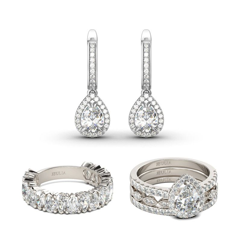 9fe7659f8e11a7 Classic Pear Cut Sterling Silver Jewelry Set - Jeulia Jewelry