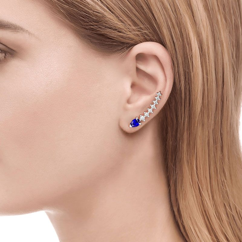 d7e942ea241605 Royal Blue Climber Earrings - Jeulia Jewelry