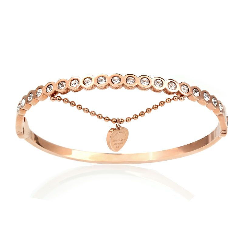 Rose Gold Tone Chain Design Bangle Jeulia Jewelry
