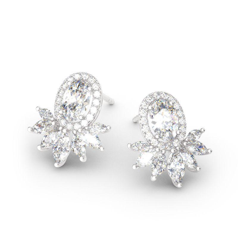7826349ec1dc65 Halo Oval Cut Sterling Silver Stud Earrings - Jeulia Jewelry