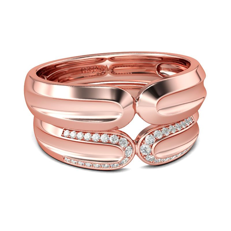Rose Gold Tone Round Cut Sterling Silver Band Set Jeulia Jewelry