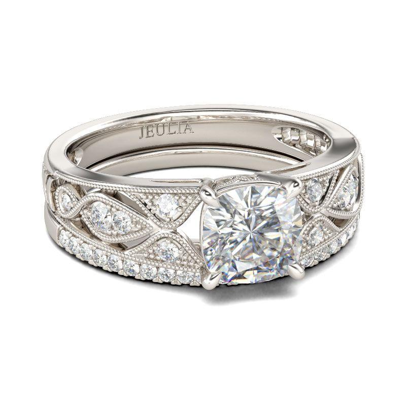 98f702068892ec Vintage Cushion Cut Sterling Silver Ring Set - Jeulia Jewelry