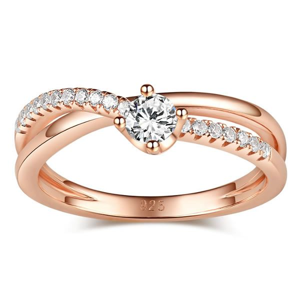 Rose Gold Tone Round Cut Sterling Silver Promise Ring Jeulia Jewelry