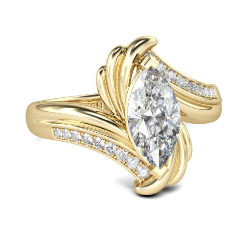 Bypass Marquise Cut Sterling Silver Ring