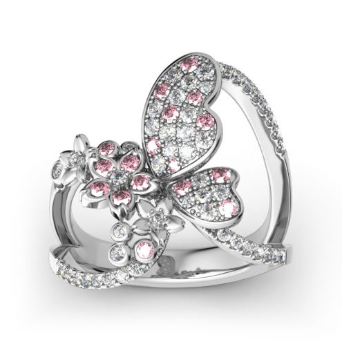 Flower and Butterfly Sterling Silver Ring
