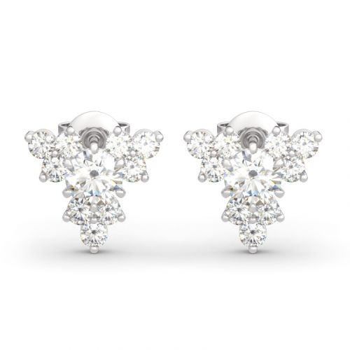 Sparkling Cluster Round Cut Sterling Silver Earrings