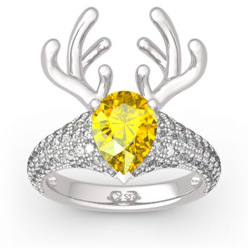 """Christmas Reindeer""Antler Pear Cut Sterling Silver Animal Ring"