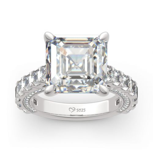 Classic Asscher Cut Sterling Silver Ring