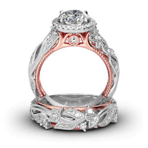 Leaf Design Round Cut Sterling Silver Ring Set
