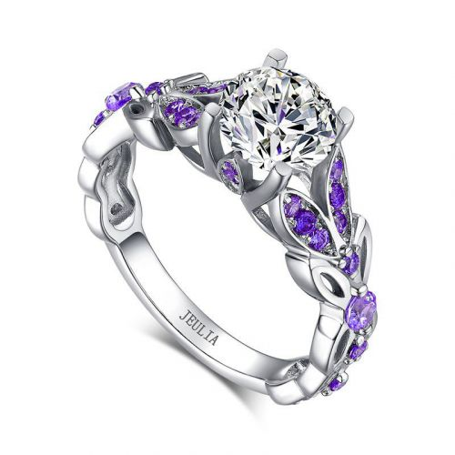 Butterfly Round Cut Sterling Silver  Ring