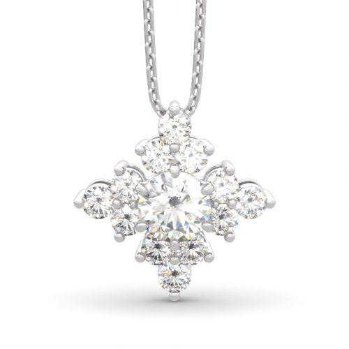Sparkling Cluster Round Cut Sterling Silver Necklace
