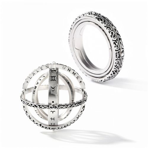 Astronomical Sphere Sterling Silver Ring (With A Free Chain)
