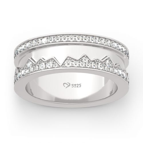 Rocky Mountains Inspired Sterling Silver Band