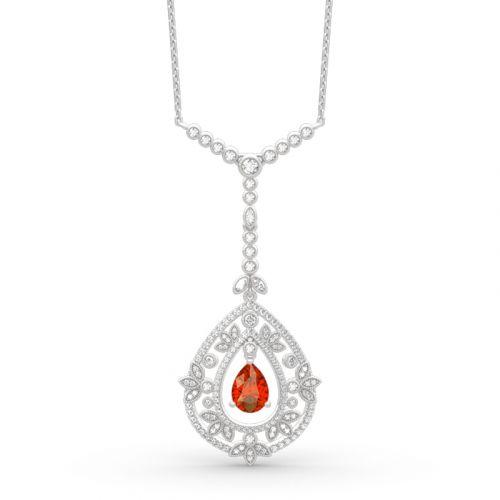 Vintage Leaf Design Sterling Silver Necklace