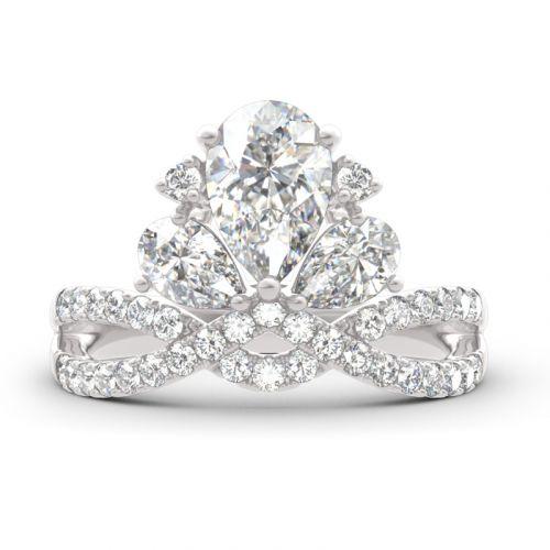 Crown Shape Three Stone Pear Cut Sterling Silver Ring