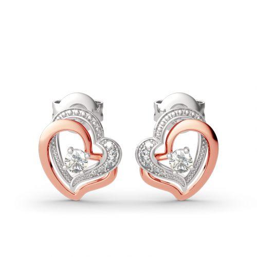 Double Heart Sterling Silver Stud Earrings