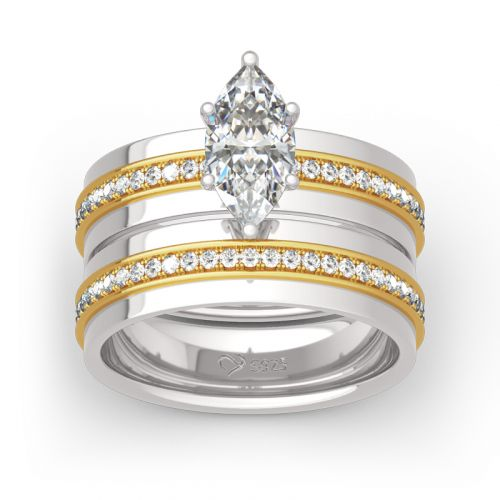 Two Tone Marquise Cut Sterling Silver Ring Set