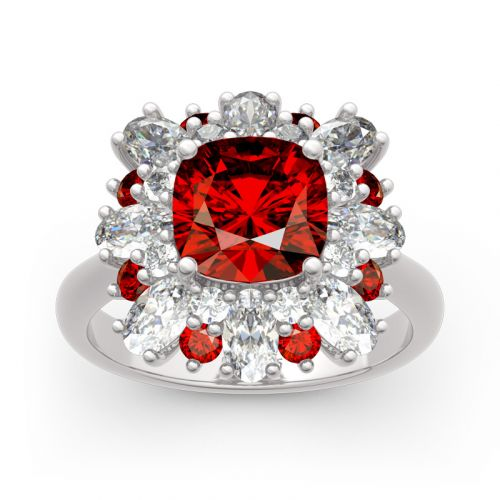 Floral Cushion Cut Sterling Silver Ring