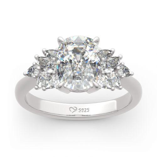 Jeulia Leaf Design Cushion Cut Sterling Silver Ring