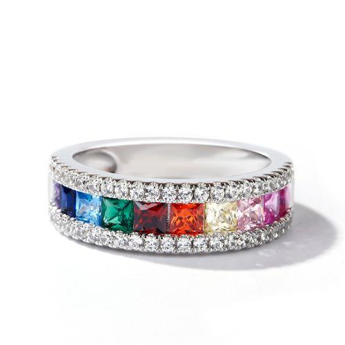 Jeulia Multi-Color Princess Cut Sterling Silver Band