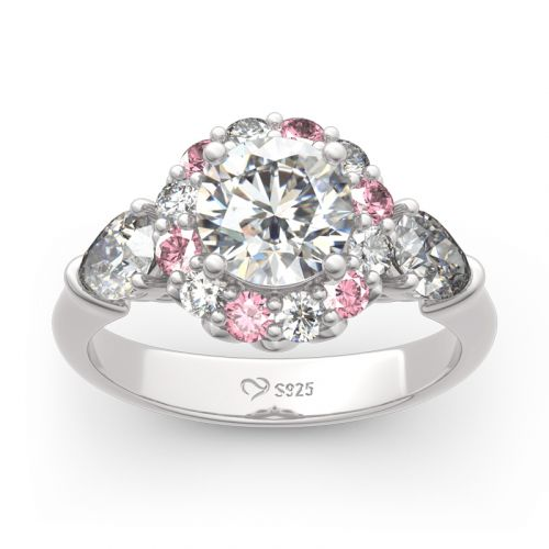 Jeulia Floral Round Cut Sterling Silver Ring