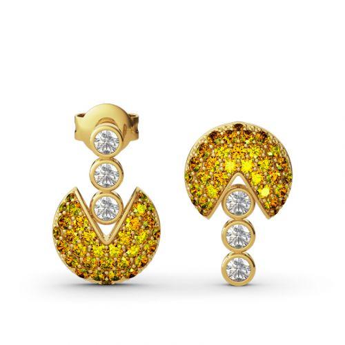 Pac-Man Inspired Sterling Silver Earrings