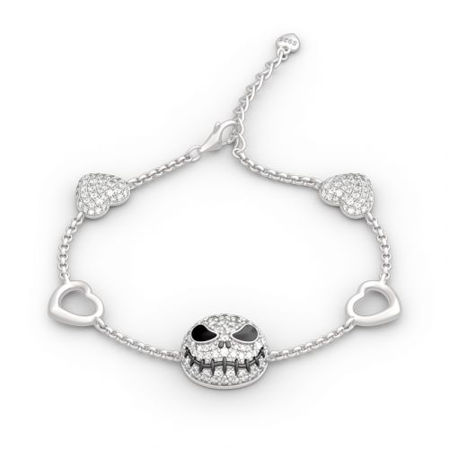 Jeulia The Nightmare Before Christmas Jack Skellington Sterling Silver Bracelet