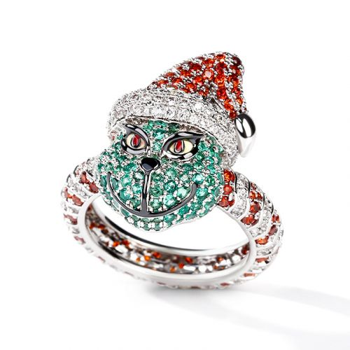 Jeulia Christmas Monster Inspired Sterling Silver Ring