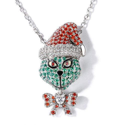 "Jeulia ""Holiday Cheermeister"" Christmas Monster Inspired Sterling Silver Necklace"