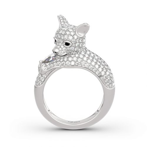 "Jeulia ""Always By My Heart"" Puppy Sterling Silver Ring"