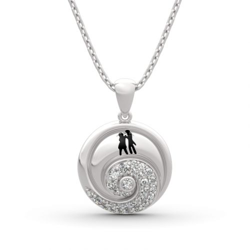 "Jeulia ""Romance in the Moonlight"" Jack Skellington and Sally Sterling Silver Necklace"