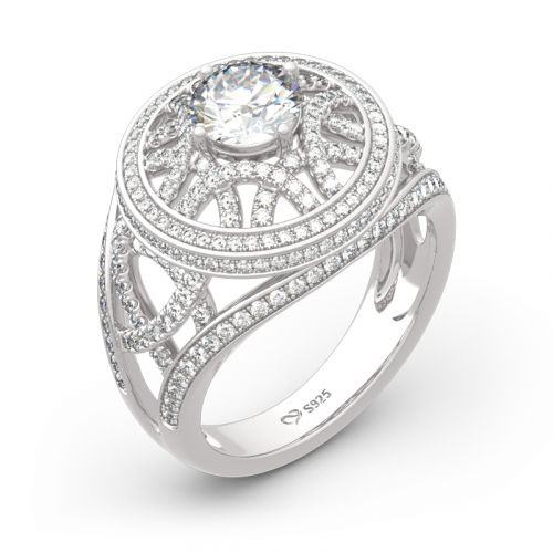 Jeulia Palais Garnier Inspired Round Cut Sterling Silver Ring