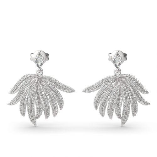 "Jeulia ""Rainforest Style"" Palm Leaf Design Sterling Silver Earrings"