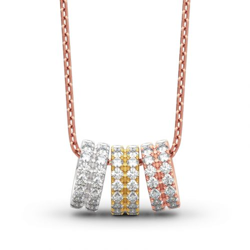 Jeulia Tri-tone Hoop Design Sterling Silver Necklace