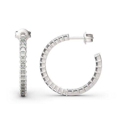 Jeulia Inside-Out Design Princess Cut Sterling Silver Hoop Earrings